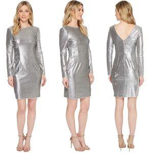 Aidan Mattox | Silver Sequin Sheath Cocktail Dress